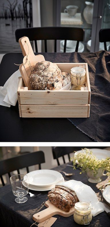 The IKEA KNAGGLIG breadbox is made of smooth and recyclable light pine wood and can be used as a food storage box after your friend finishes what's inside.