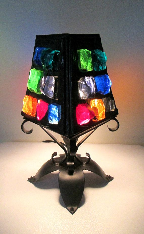 1960s Mediterranean Table Lamp Multicolored by looseendsvintage