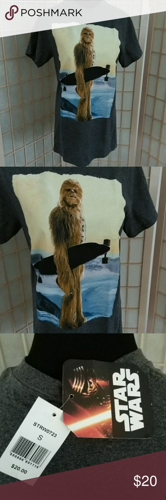 NWT Star Wars Wookie with skateboard men's T-shirt NWT men's size small grey T-shirt featuring Star Wars character Chewbaca the Wookie with a skateboard . 50% cotton 50% polyester. Disney. Star Wars. Lucas films. Disney Shirts Tees - Short Sleeve