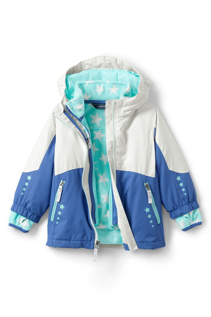 This Toddler Girls' Stormer 3 in 1 Parka from Lands' End gives her superior wind- & water-resistant warmth at a great price.  This system parka is of great value because you get three coats in one: an insulated shell & mid-weight fleece jacket/liner that zips together for colder weather.