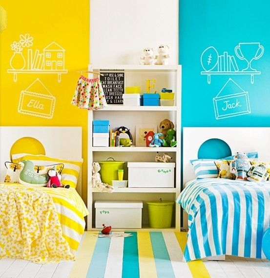 boy and girl room. yes to the blue and yellow