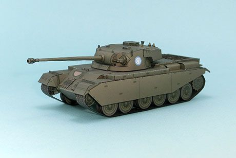 The Centurion (A41), introduced in 1945, was the primary British main battle tank of the post-World War II period. It was a successful tank design, with upgrades, for many decades. The chassis was also adapted for several other roles. Paper model created by Mr. Cube.