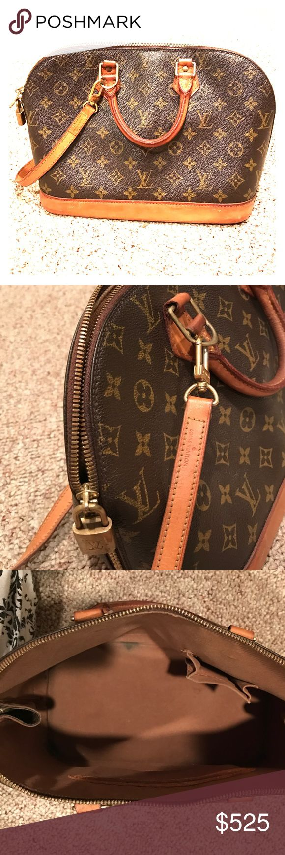 Louis Vuitton Alma Bag LOUIS VITTON Vintage traditional monogram Alma PM bag . 100% authentic LV. Leather top handles with brass links. Zipper closure on top. Removable leather straps. LV lock attached. Great condition, only minor flaws from normal use. (Excluded from bundle discount) Louis Vuitton Bags Totes