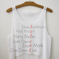 One Direction Band Members Names Talent Cropped Tank Top.