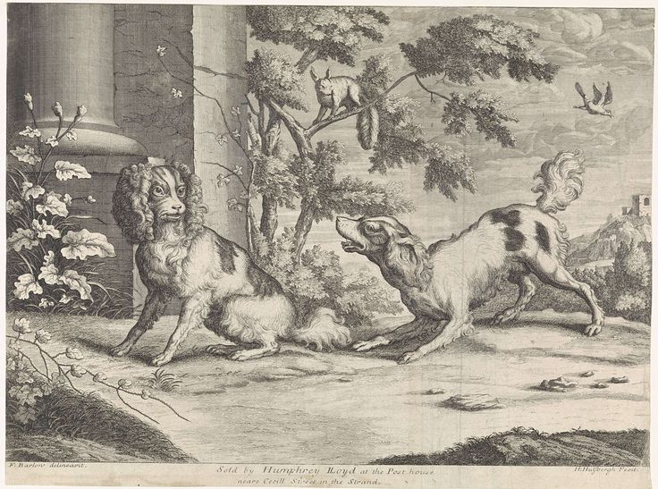 Hendrick Hulsbergh | Zittende en blaffende hond bij eekhoorn, Hendrick Hulsbergh, Humphrey Lloyd, c. 1679 - 1729 | Een zittende hond wordt aangeblaft door een tweede. In het midden zit op een boomtak een eekhoorn.