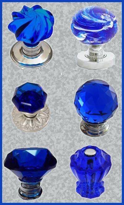 cobalt blue glass door knobs
