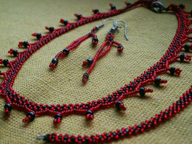 Traditional beaded necklace, earrings...