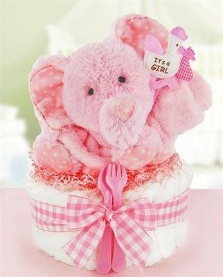 Pink elephant diaper cake.