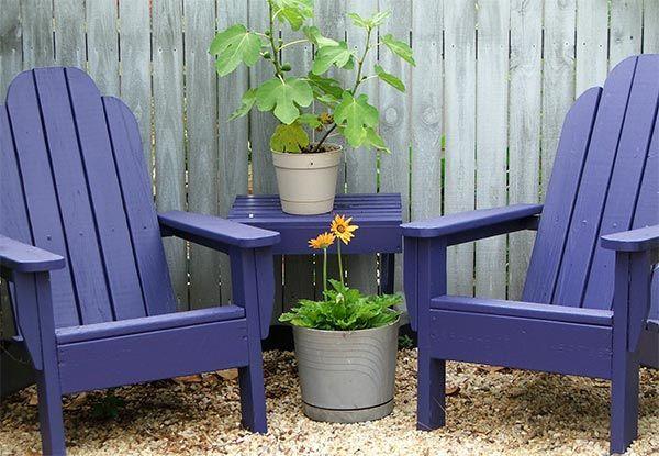 purple chairs and table: Adirondack Chairs, Garden Seats, Front Yard, Purple Chair, Gardens Outdoors Yard, Gardening Outdoors Landscaping, Outdoor Area, Purple Garden