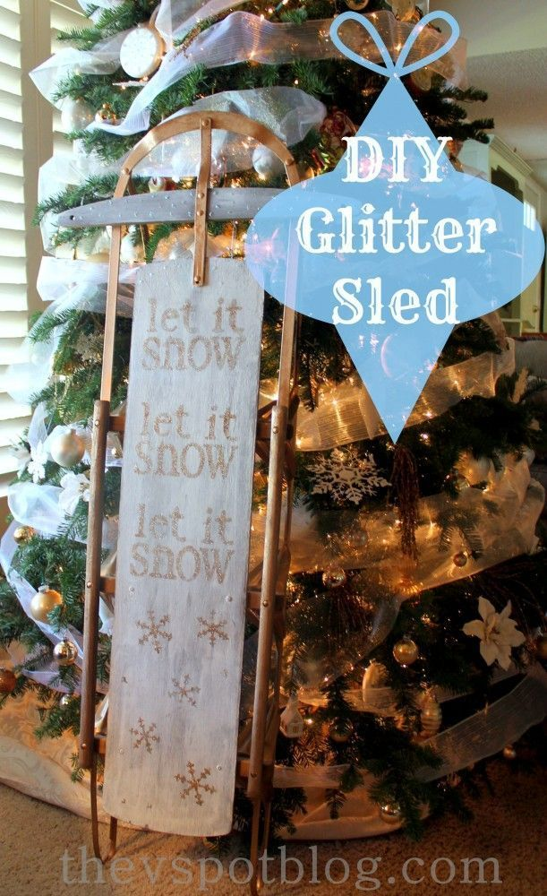 DIY glitter Christmas sled. Fun Christmas decor and decorations.