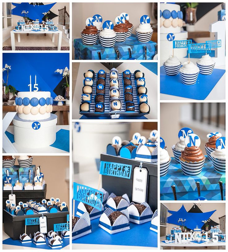 Blue and white party decor teen party decor for boy bar for Summer white party ideas