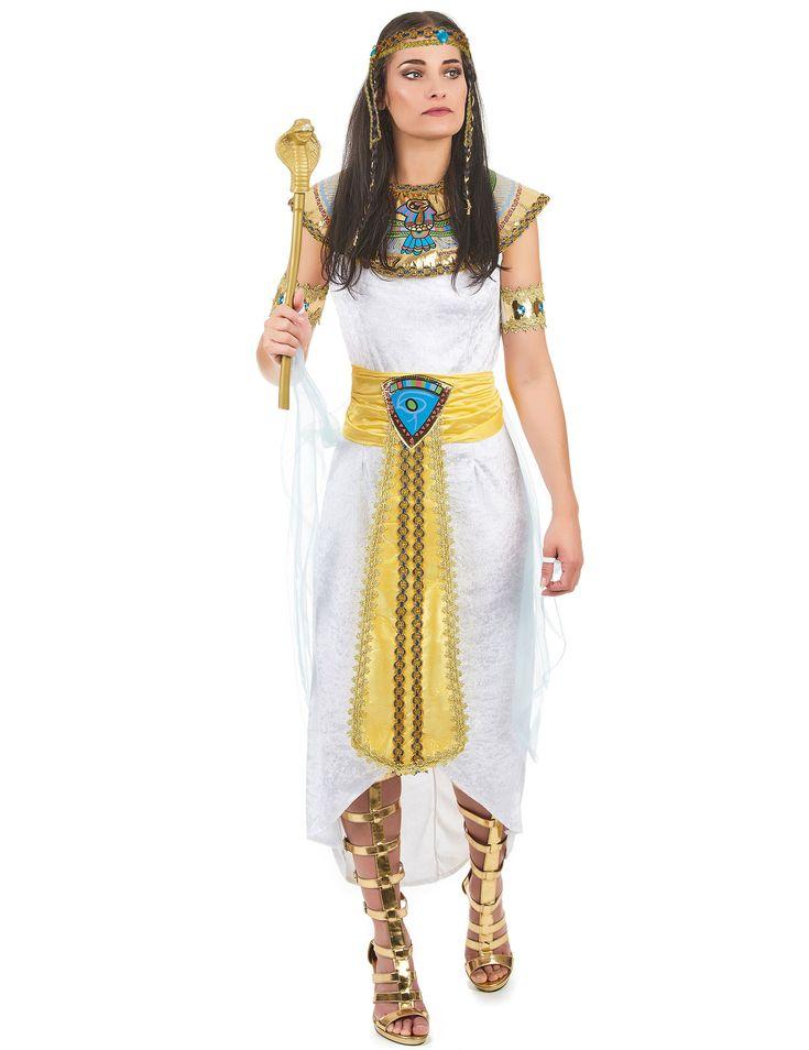 Déguisement reine d'Égypte femme : Ce déguisement dereine égyptiennepour femme se compose d'unerobe avec voile, d'une collerette, d'un bandeau, de deux brassards et d'une ceinture.La...