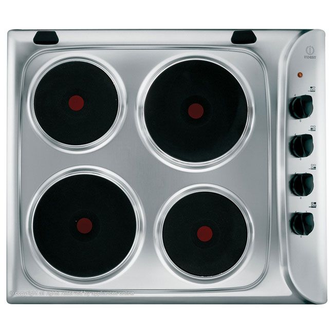 Indesit PIM604IX 60cm Sealed Plate Electric Hob in Stainless Steel