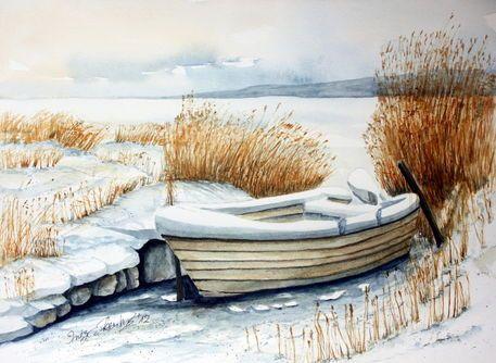 'Boot im Schnee' von Inez Eckenbach-Henning bei artflakes.com als Poster oder Kunstdruck $26.13