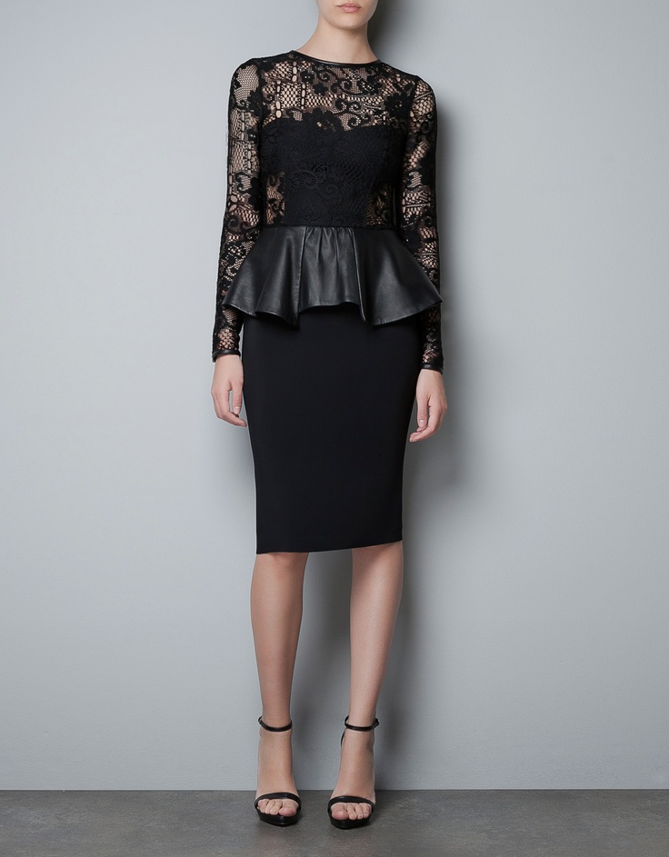Black STUDIO DRESS WITH LEATHER PEPLUM FRILL - Dresses - Woman - ZARA United States