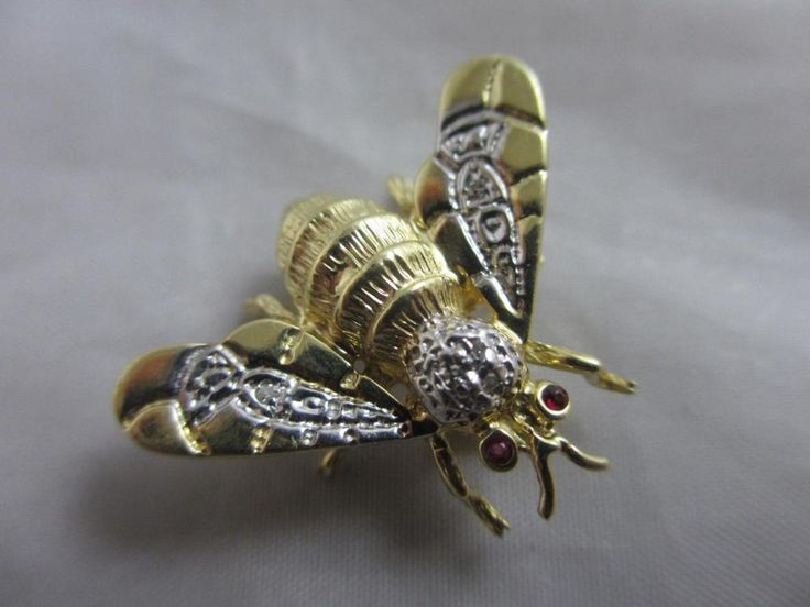 Diamond Wings 14k Gold Bee Bug Brooch Pin Vintage Art Deco c1920 TBJ00346 | eBay