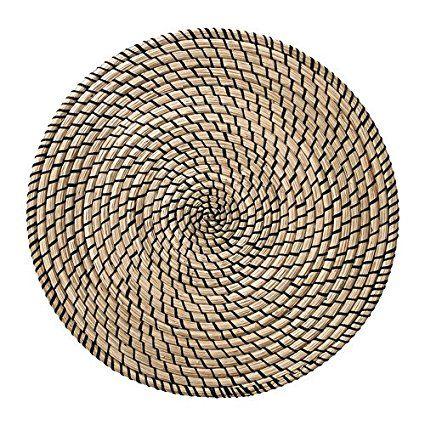 Étui à rabat fait main en jonc de mer Tapis de table avec fil 100% polyester-Rond (37cm)-Protège la surface de dessus de table et réduit le bruit des assiettes et couverts