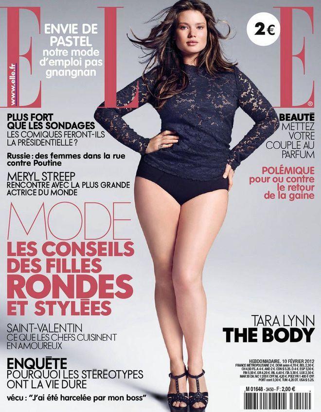 Les mannequins rondes à suivre: Tara Lynn en couverture du Elle france février 2012