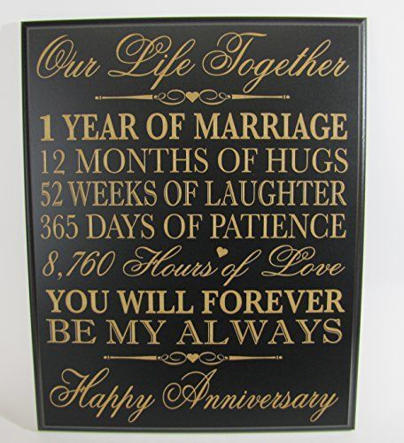 First Wedding Anniversary Gifts For Her: 1st Wedding Anniversary Wall Plaque Gifts For Couple, 1st