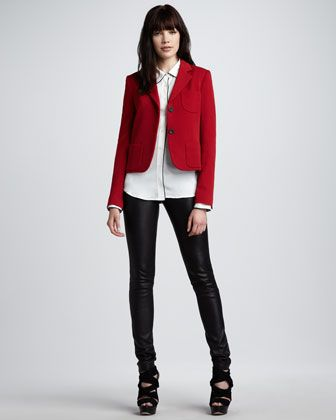 Short Felt Blazer, Trimmed Silk Blouse & Skinny Leather Pants by @TheoryLight Pink Blazers, Red Blazers, Shorts Felt, Felt Blazers, Trim Silk, Bergdorf Goodman, Skinny Leather, Silk Blouses, Leather Pants
