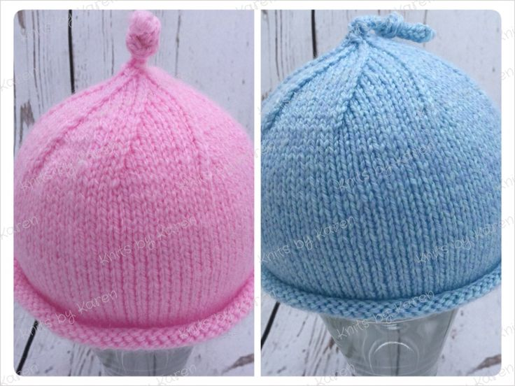 Hand Knitted Baby Hat with Top Knot