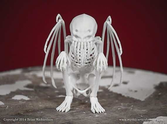 Cthulhu Skeleton 3D Print Taxidermy by MythicArticulations on Etsy