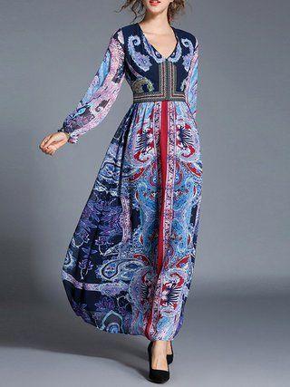 Boho Long Sleeve A-line Tribal Maxi Dress
