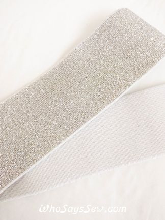 """4cm (1.5"""") Wide Soft Silver Sparkly Waistband Elastic- By the Meter - Who Says Sew"""