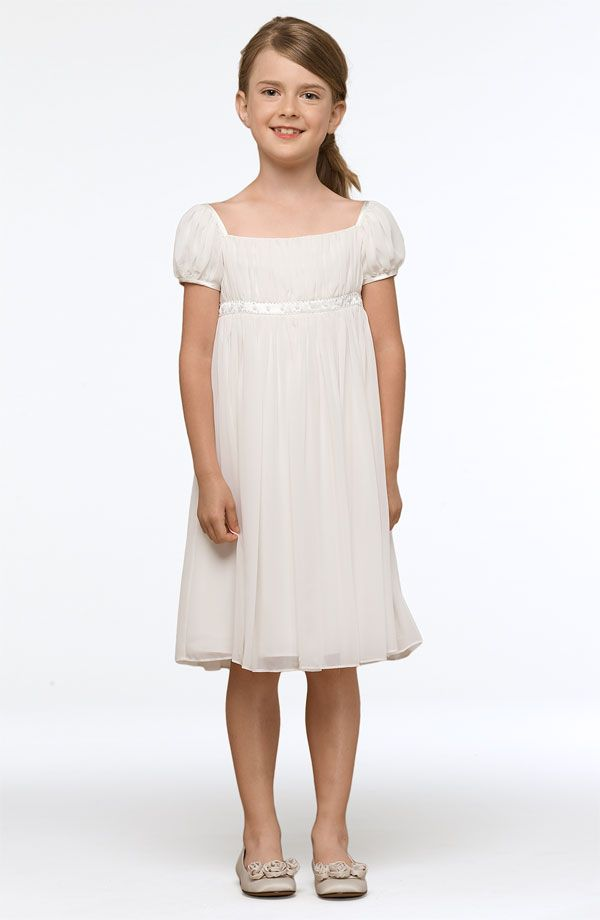 Cute and simple flower girl dress. Would be cute with a colorful flowers and cute shoes.