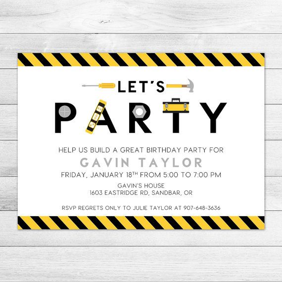 Construction Tools Birthday Party Invitation by Klutzybug on Etsy