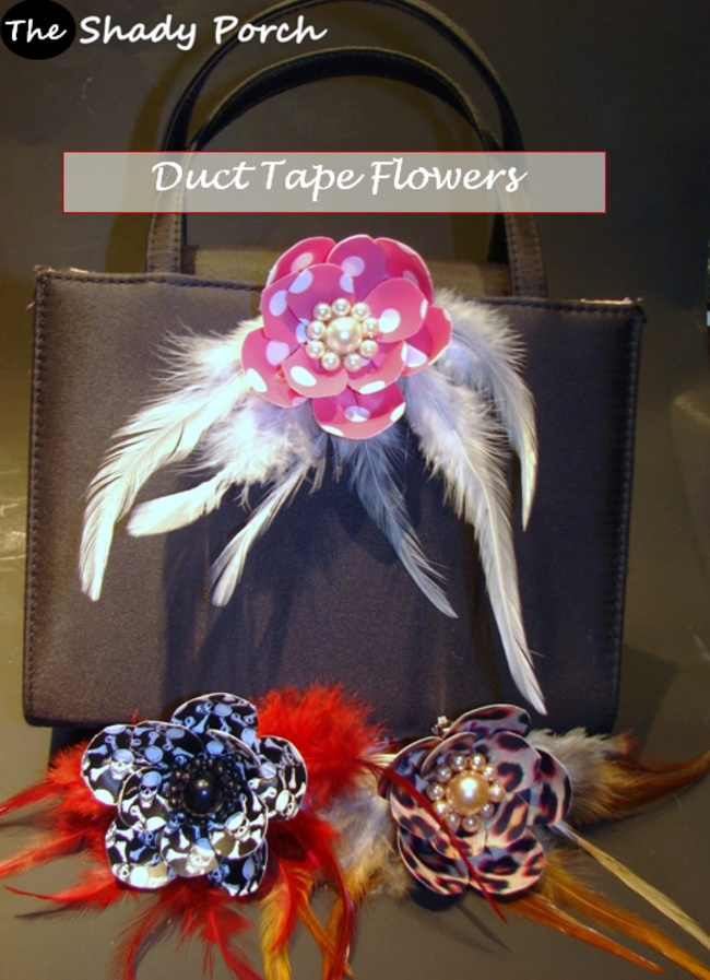 clip-on patterned Duct Tape Flowers with feathers & pearls