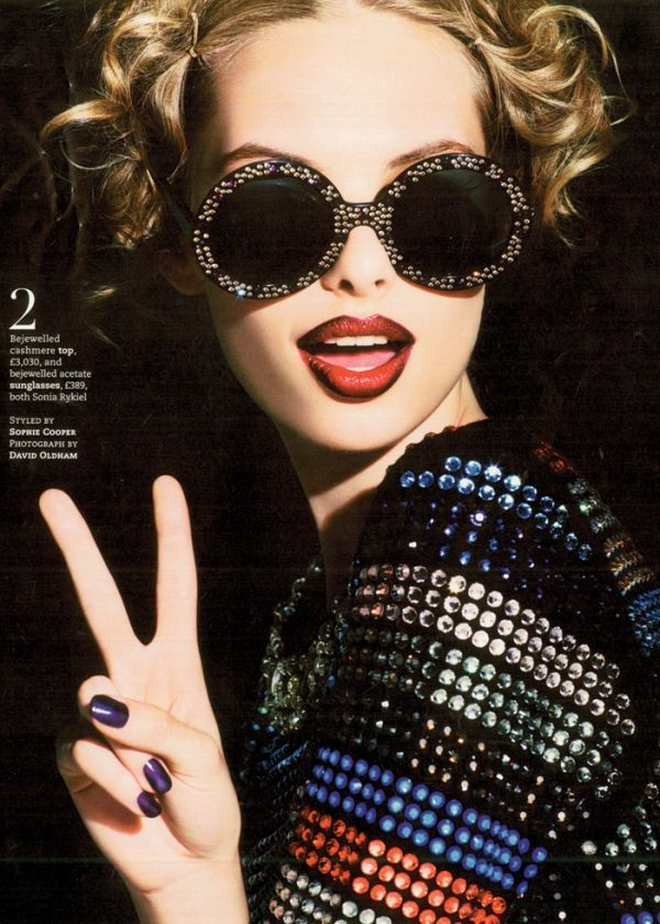 Matchy-matchy...Sonia Rykiel sunnies and bejewelled top