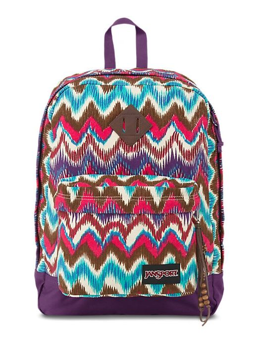 The new JanSport Super FX Backpack in Beige Ikat Chevron with a front utility pocket to keep all your accessories organized.
