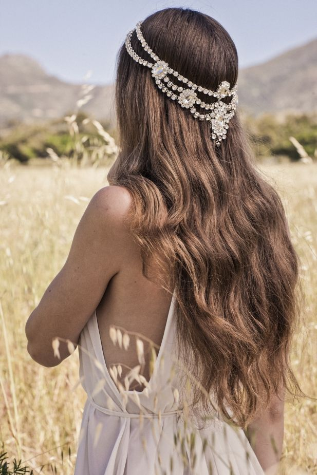 boho wedding ideas- jeweled hair adornments / http://www.deerpearlflowers.com/amazing-wedding-hairstyles-with-headpiece/2/