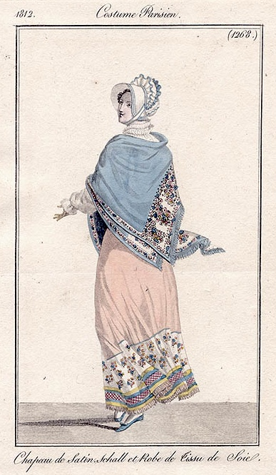 An absolute favourite fashion plate, the shawl dress and the colours look wonderful. Costume parisien, 1812