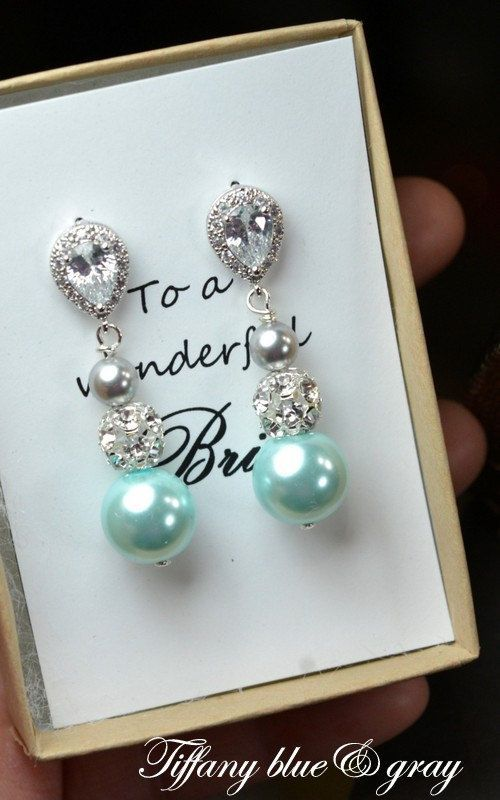 Tiffany blue aqua gray -Wedding Jewelry Bridesmaid Gift Bridesmaid Jewelry Bridal Jewelry Pearl Drop Earrings Cubic Zirconia Earrings