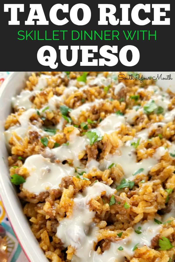 Taco Rice With Queso Recipe Food Recipes Taco Rice Mexican