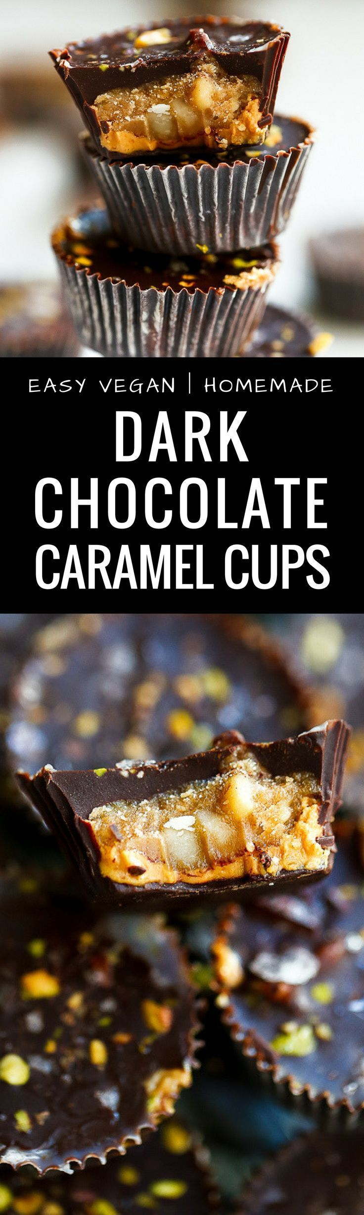 Easy Vegan Dark Chocolate Caramel Cups. These vegan, paleo treats are made with creamy cashew butter, filled with caramel and covered in dark chocolate. Healthy vegan recipes. Healthy vegan desserts. Chocolate vegan dessert recipes. Dairy free caramel cups. Paleo, vegan, easy to make and delicious! Paleo vegan dark chocolate caramel cups recipe! via /themovementmenu/