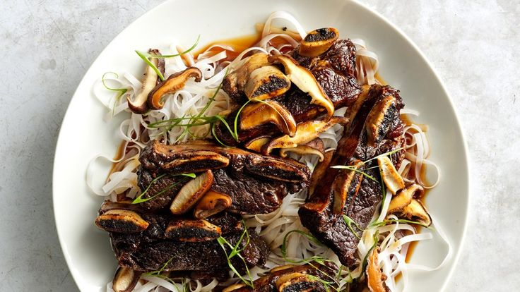 Soy-Braised Short Ribs With Shiitakes Flanked-Style short ribs, used for Korean barbecue, are cut across the bones instead of between the bones. Start this recipe ahead of time; chilling the ribs after braising keeps them from falling falling apart when they served (and all braised meats taste better the next day).