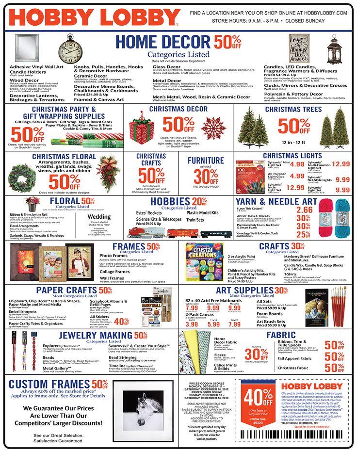 Hobby Lobby Weekly Ad December 10 - 16, 2017 - http://www.olcatalog.com/grocery/hobby-lobby-weekly-ad.html