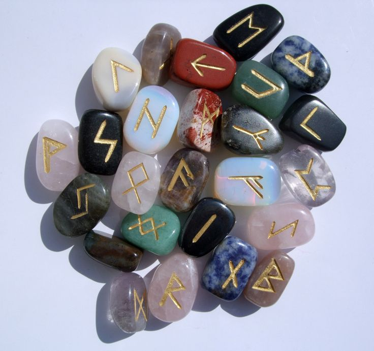 Set of 25 stones in the Elder Futhark runes. Painted in gold leaf. Comes with pouch and meanings of each symbol. No two sets are alike! All Runes Sets come with Velveteen Carrying bag and rune descrip