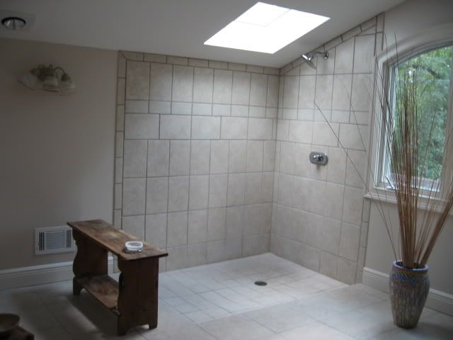 Open showers this is our attic reno we are in an 1890 for Open bathroom designs pictures