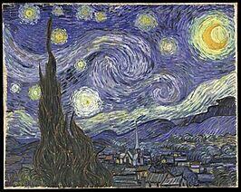 Sterrennacht - Van Gogh Beweging door lijnvoering.