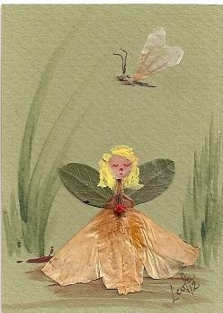 Pressed Flower Fairy by Leola Walker  I should make an awesome pressed flower painting/picture---christmas?