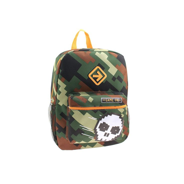 "Pixelated Camo Skull ""Game On"" Backpack - Kids, Black"