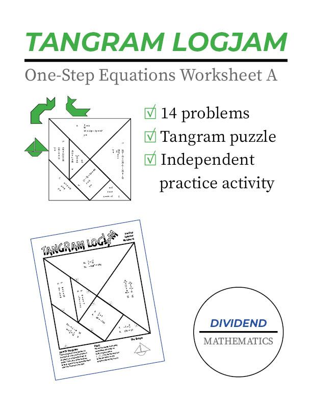 Solving One Step Equations Tangram Activity A One Step Equations Free Math Activity School Algebra Free one step equation worksheets
