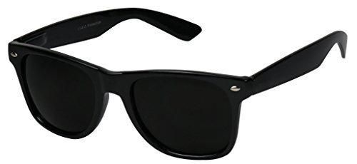 Basik Eyewear - Super Extremely Dark Black Retro Wayfarer 80's Sunglasses 1 or 2 Pairs (Glossy Black Frame Dark Black)