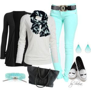 Colored Jeans-mint green!: Green Jeans, Color Combos, Fashion Design, Stylish Clothing, Mint Jeans, Design Schools, Color Jeans, Spring Outfit, Polyvore Fashion