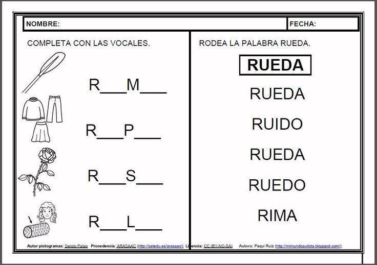 MATERIALES - Fichas de lectoescritura - R.    Fichas para el aprendizaje de la lectoescritura en letra mayúscula.    http://arasaac.org/materiales.php?id_material=983