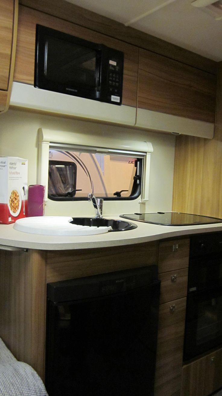 Elddis 550 supreme kitchen area microwave above sink caravan motorhome show nec oct 2013 - Caravan kitchen sink ...